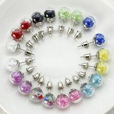Elegant Women Clear Round Earrings Glass Ball Lots Crystal Ear Stud Earrings New