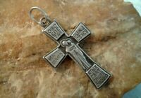 "VINTAGE STERLING SILVER ""925"" ORTHODOX CROSS ICON OF MOTHER OF GOD ALL-GLORIFIED"