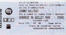JOHNNY HALLYDAY TICKET DE CONCERT ORIGINAL VINTAGE 16 7 1999