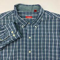 Izod Button Up Shirt Mens XXL Blue Gray Plaid Long Sleeve Casual