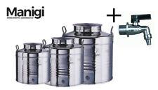 Contenitore Fusto in Acciaio Inox Lt. 15 Bidone Inox per Olio Olivari con Rubine