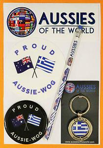 PROUD AUSSIE - WOG Greek GIFT AUSTRALIAN KEYRING MAGNET STICKER GREECE SOUVENIR