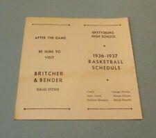 1936 1937 Gettysburg Pennsylvania High School Basketball Schedule Britcher Drugs