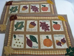 2 Fabric Fall Leaves Apple Pumpkin Autumn Placemats Country Appliqued Checked