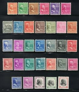 SCOTT #803 THROUGH #834 **MNH** PRESIDENTIAL ISSUE **MNH**1938**