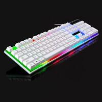 Ergonomic Colorful LED Backlight Illuminated Wired USB Laptop PC Gaming Keyboard