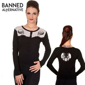 Banned Apparel Parallel Universe Skull Embroidered Gothic Small Crew Cardigan
