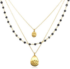 Satya Jewelry Classics Onyx Lotus and Tree of Life Triple-Chain Necklace (18-Inc