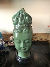 Old Celadon??Chinese Kwan-yin Guan Yin Guanyin Goddess Head Bust Statue w/stand