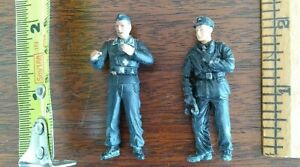 Two WWII German Painted Plastic AFV Crewmen 1/35 or 1/32 Scale Unknown Maker.