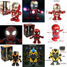 Dance Spiderman / Bumblebee / Iron Man Toy Figure Dancing Robot w/LED & Music