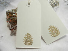 10 Gold Pine Cone on White Christmas Gift Tags Handmade Vintage Style