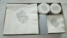VINTAGE HOSTESS SET PAPER NAPKINS, COASTERS IN ORIGINAL BOX WITH EXTRAS