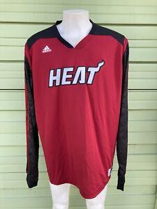 NBA MIAMI HEAT ADIDAS MEN RED WARM UP SWEATSHIRT Long Sleeve Size 5XLT #5212