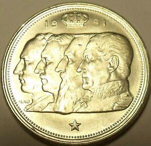 Belgium 100 Francs, 1954 Gem Unc Silver~The Four Kings