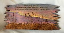 Vtg PYROGRAPHY WOOD PLAQUE BURNED PAINTED LANDSCAPE BIRDS ANTHONY ROBBINS QUOTE
