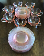 ANTIQUE Pink DAISY Etched FLORAL Cup SAUCER Coffee BREAD Plate LOT Vintage
