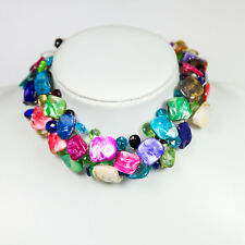 Shell Choker Necklace with Crystals, Multicolour, Handmade