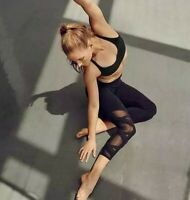 $79 Athleta High Rise Mesh Chaturanga Black Capri Cropped Leggings Size SMALL