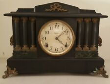 Antique INGRAHAM Pillar Column Ebony Victorian Parlor Mantel Shelf Clock c.1880