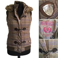 ARIAT Equestrian Gilet Size 12 Brown Blue Plaid Check Faux Fur Hood Toggle Zip