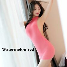 Lady See Through Short Dress Sexy Backless Bodycon Sheer Halter Fitted Club Wear