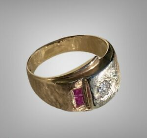 Vintage 10K Gold Diamond and Ruby Ring