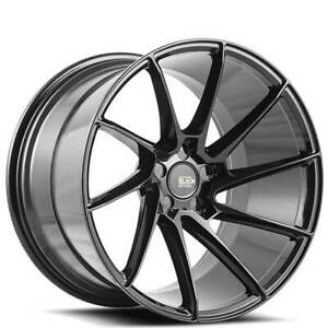"(4) 22"" Staggered Savini Wheels Black Di Forza BM15 Gloss Black Rims (B1)"