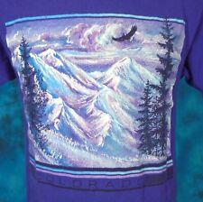 vintage 90s COLORADO MOUNTAIN EAGLE NATURE T-Shirt MEDIUM ski snow art soft 80s