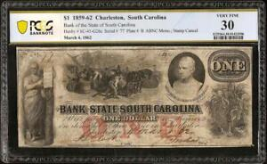 1862 $1 DOLLAR LOW # 77 SOUTH CAROLINA BANK NOTE LARGE CURRENCY PAPER MONEY PCGS