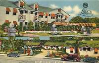 WALTERBORO SC LADY LAFAYETTE TOURIST COTTAGES OLD CARS POSTCARD c1940s