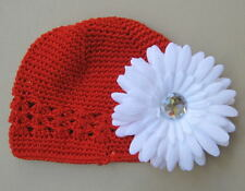 2 pc. Red Hat beanie White toddler baby Christmas Kufi cap infant holiday photo