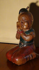 "ANTIQUE CHINESE MAHOGANY WOOD HAND CARVED PAINTED DOLL""KNEELING SLEEPING BOY""16"""