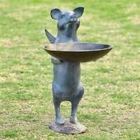 Winged Pig Birdfeeder Whimsical Metal Garden Sculpture Statue Bird Feeder