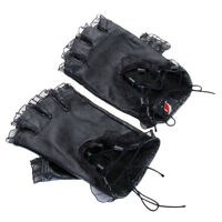 Women Lambskin GENUINE Leather Gloves Lace Fingerless Driving Gloves Black