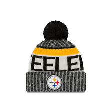 New Era NFL Bobble Pittsburgh Steelers Black 2017 Sport Knit Sideline Beanie Hat