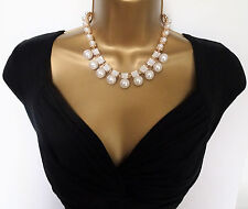 """16"""" Chunky Faux Pearl Crystal Choker Necklace and Stud Earring Jewellery Set"""