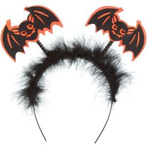 ORANGE AND BLACK BAT HEADBAND HALLOWEEN ACCESSORIES FANCY DRESS BAT HEADBOPPERS