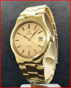 1974 Omega Geneve 166.0173 Automatic 36.5mm Gold Plated 1012 ORIGINAL Mens Watch