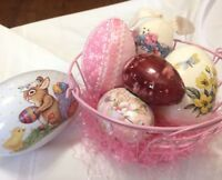 Pink Wire Easter Basket w/ 6 easter eggs fabric metal porcelain painted flowers