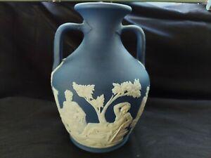 "Antique Josiah Wedgwood Portland Vase Cobalt Blue Jasperware 7"" Portland Vase"