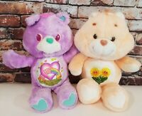 """Vintage Care Bears With Sunflowers And Rainbow Heart Bellies• 13"""" Plush Stuffed"""