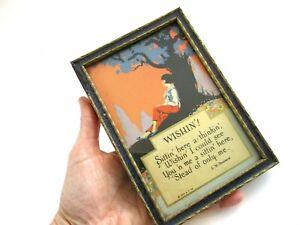 Framed Motto Print Vintage 1920s Art Deco Wishing Brainerd Poem Print Wood Frame