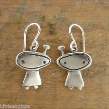 Little Orbit Girl Charm EARRINGS by Mark Poulin Sterling Silver Alien - Gift Box