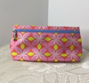 """Clinique Makeup Cosmetic Travel Bag Pouch Pink Yellow Floral 9"""" x 5"""" NEW"""