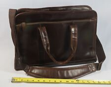 PELLE Brown Leather Travel Suitcase Laptop Bag Padded Adjust. Straps 17x11