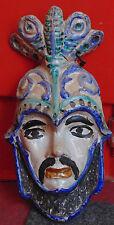 rare ancien grand plaque faience masque homme italie NEVERS lyon 19 e bon etat