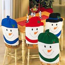 4pc Christmas Santa Claus Xmas Snowman Chair Back Covers Dinner Table Decoration