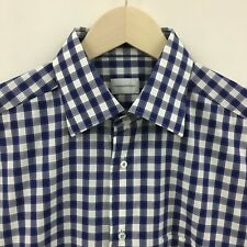 Mens 41 ERMENGILDO ZEGNA Gingham Plaid Blue Spread Collar Shirt -SUPER- 32c
