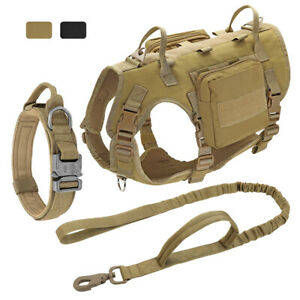 Military Tactical Dog Harness Collar and Leash set Molle Service Vest Rottweiler